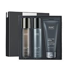 韩国AHC 男士水乳洁面3件套礼盒(洁面140ml+水乳120ml*2)随机发